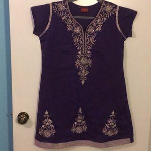 Dresses & Skirts - Purple Embroidered Mini Dress/Tunic